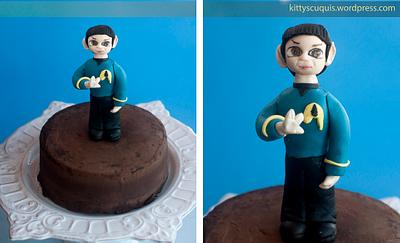 Captain Spock Cake topper and Chocolate layer cake - Cake by Kittyscuquis