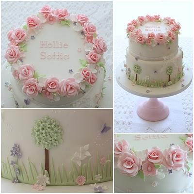 Country Garden Christening cake - Cake by TiersandTiaras