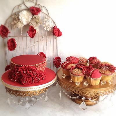 Opulent Ribbon Roses, Ruffles and Diamonds - Cake by Say it with Cakes