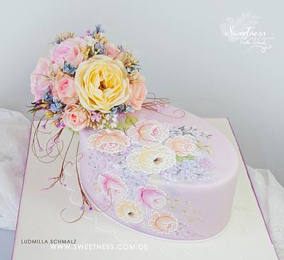 Hand Painted Cake and Wafer Paper Bouquet - Cake by Ludmilla Gruslak