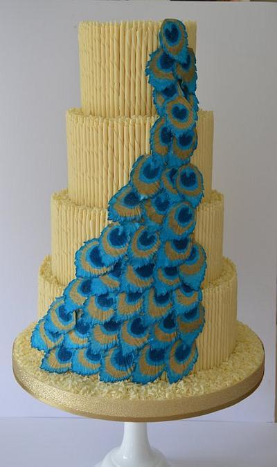 Peacock cascade weedding cake - Cake by Krumblies Wedding Cakes
