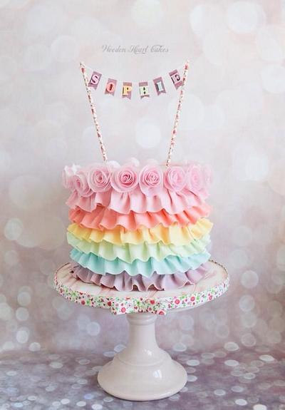 Sophie's Rainbow Ruffles - Cake by Wooden Heart Cakes
