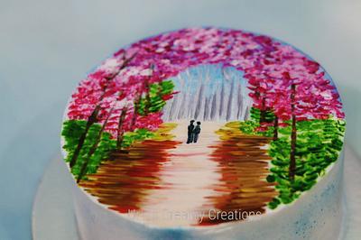 Whipped cream Painting - Cake by Urvi Zaveri