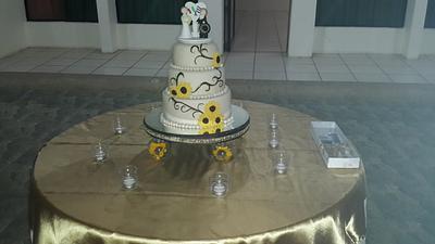 sunflowers wedding cake - Cake by Rocío Jiménez . ( Rox Gourmet )