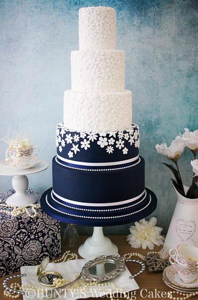 Navy Fabric Flower - Cake by Bunty's Wedding Cakes
