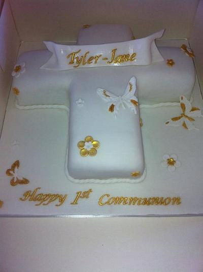 holy communion cake gold and white - Cake by Amanda Forrester