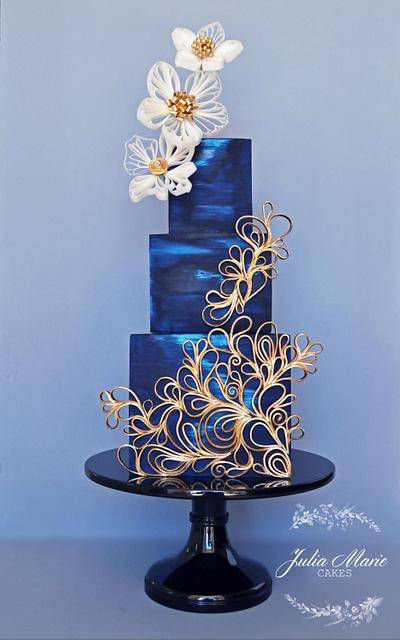 Blue & Gold Quilled Cake - Cake by Julia Marie Cakes