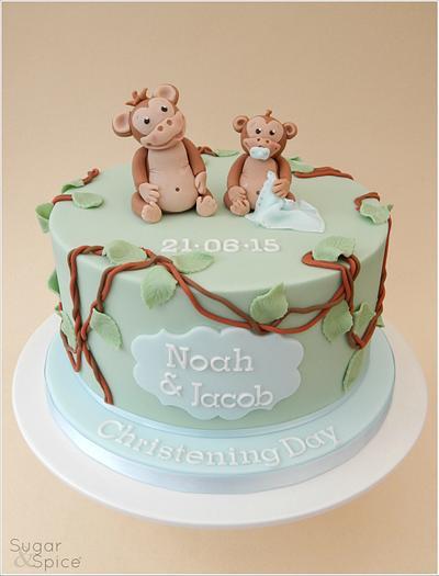 A 'Cheeky Monkey' Christening - Cake by Sugargourmande Lou