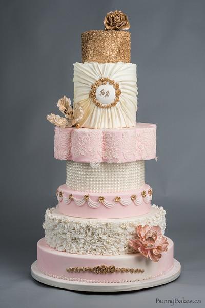 Blush, cream and gold sparkle wedding cake - Cake by BunnyBakes