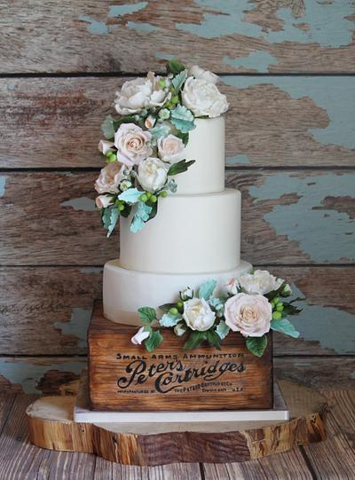 White Peonies and Roses Rustic Wedding Cake - Cake by Sweet and Swanky Cakes ~ Sonja McLean