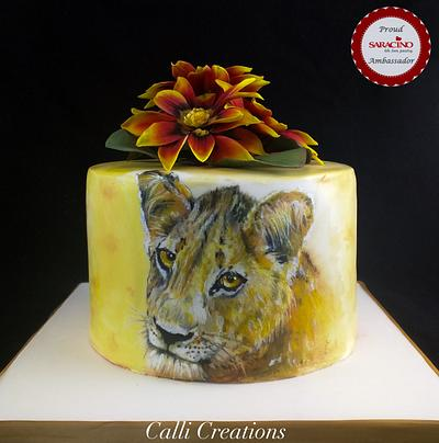 African Lion Painting Sketch Birthday Cake - Cake by Calli Creations