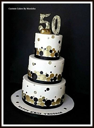 White,black and gold champagne themed 50th B'day cake! - Cake by Custom Cakes By Manisha