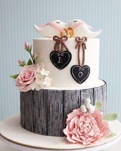 Rustic engagement Cake / cupcake / Cookies  - Cake by asli