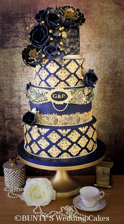 Navy Steampunk Wedding Cake - Cake by Bunty's Wedding Cakes