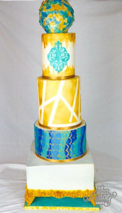 Gold and Turquoise Affair - Cake by Aditi Tewari