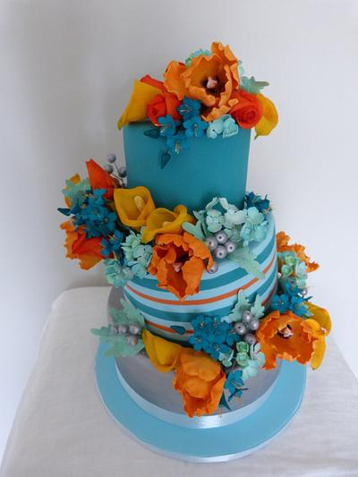 Bright and Cheerful tilted wedding - Cake by SugarAllure