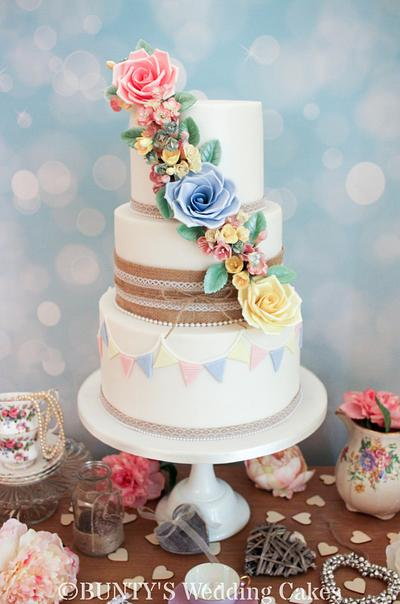 Rose Trio - Cake by Bunty's Wedding Cakes