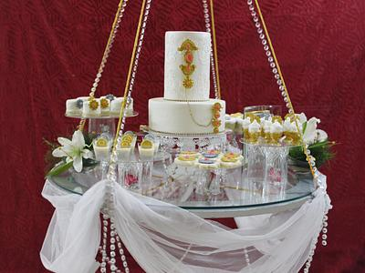 PDCA Cakes Buddies Dessert Table Collaboration- Rotating Bejeweled Chandelier Table - Cake by Shikha