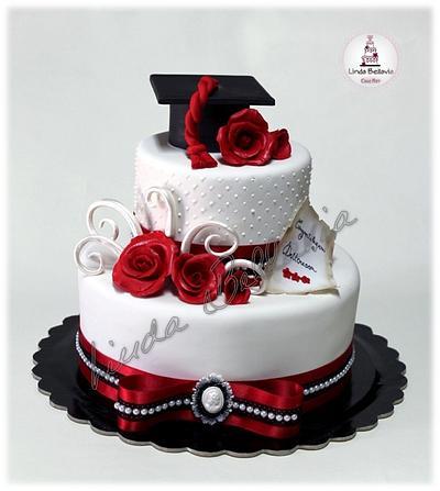 Elegant graduation cake, cake pops and cookies - Cake by Linda Bellavia Cake Art