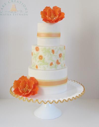 Orange Flowers  - Cake by Cake Creations by ME - Mayra Estrada