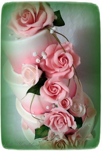 svatební v růžové - Cake by Jitka
