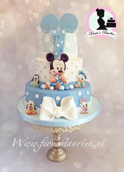 1st birthday baby Mickey mouse  - Cake by Fionastaarten13