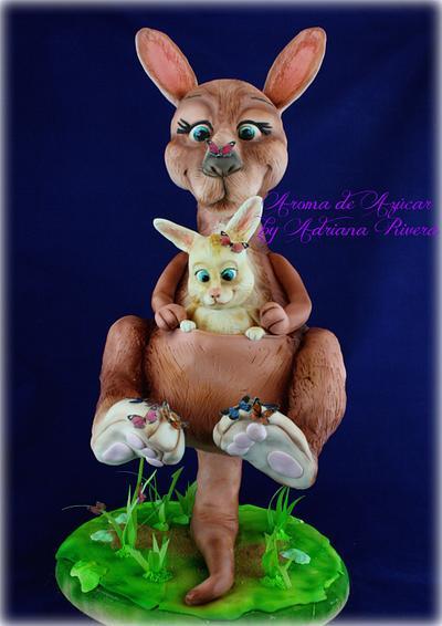 Kangaroo mom and her son with butterflies - Cake by Aroma de Azúcar