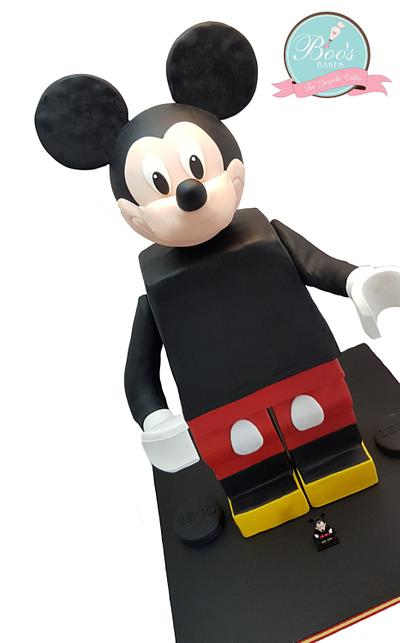 Mickey Mouse LEGO® Minifigure Standing Cake - Cake by Boo's Bakes
