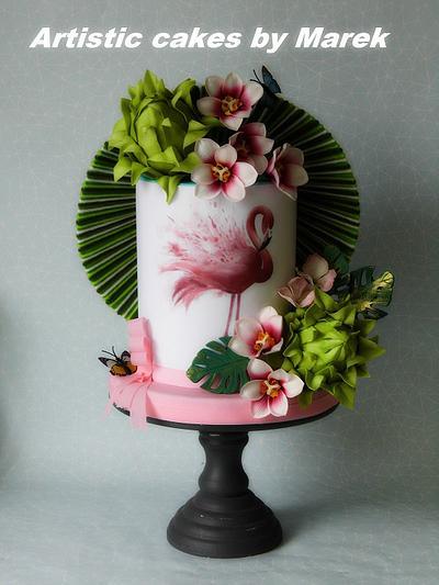 Flamingo birthday cake - Cake by Marek
