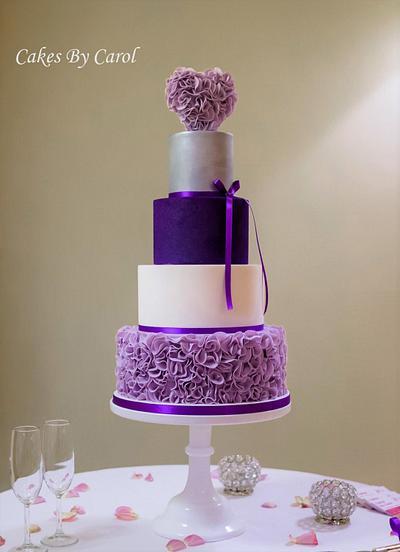 Purple Ruffle Wedding Cake - Cake by Carol