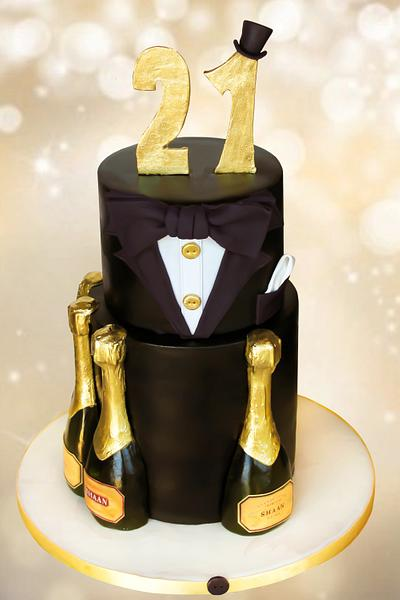 Champagne and tux cake - Cake by Estrele Cakes