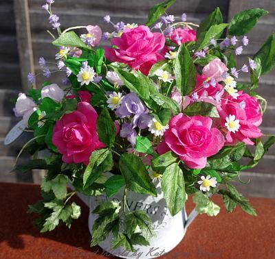 Straight from Garden - wafer paper bouquet  - Cake by Katarzyna Rarok