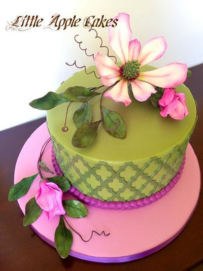 Magnolia Garden Cake - Cake by Little Apple Cakes
