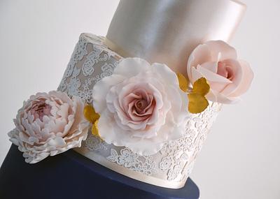 Gold, Navy & Lace Wedding Cake - Cake by Enchantedcupcakes