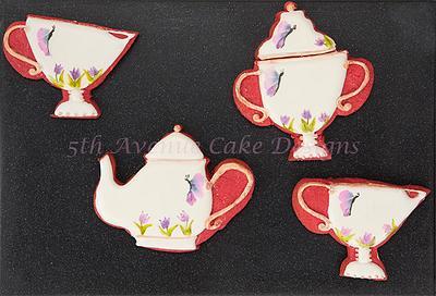Vintage Hand Painted Tea Set Cookies 🎨🖌️🦋🍵🌷 - Cake by Bobbie