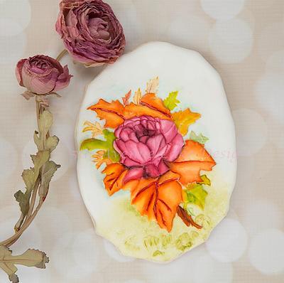 Autumn Wedding Rose Spray Cookie - Cake by Bobbie