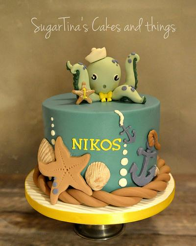 Octapus on the beach - Cake by SugarTina's Cakes and things