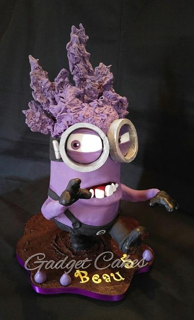 Gravity 3D Eviiil Purple Minion Cake and his minions! - Cake by Gadget Cakes