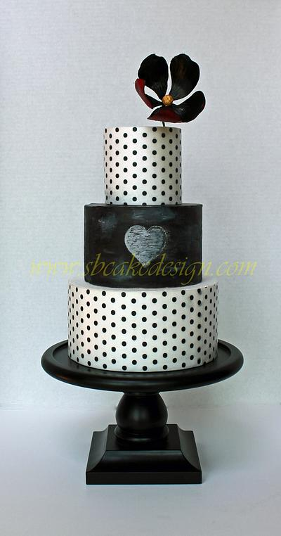 Black and White Engagement Cake - Cake by Shannon Bond Cake Design
