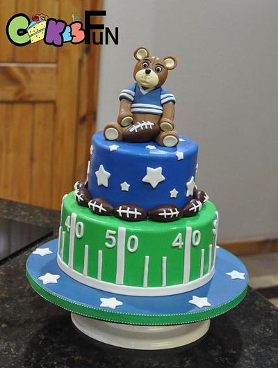 Football Themed Baby Shower Cake - Cake by Cakes For Fun