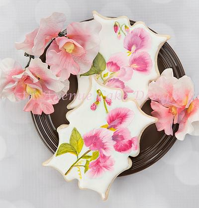 Hand Painted Royal Icing Sweet Pea Cookie 🌸🌱🖌️🎨 - Cake by Bobbie