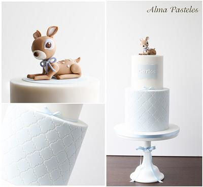 Little fawn christening cake! - Cake by Alma Pasteles