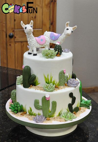 Llamas and succulents - Cake by Cakes For Fun