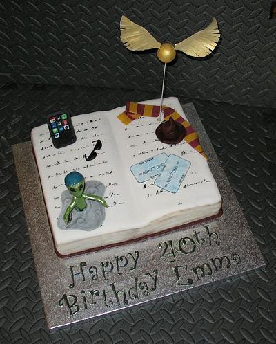 Harry Potter, Alien, Baseball Cap, iPhone, Cinema Tickets Cake - Cake by Carol Vaughan