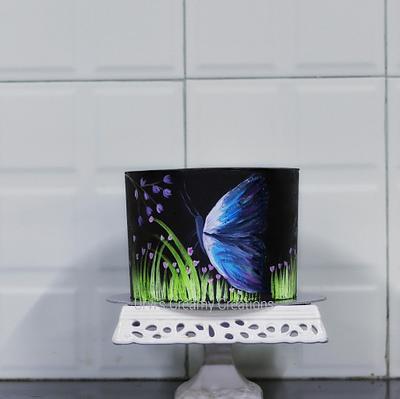 Hand painted butterfly cake - Cake by Urvi Zaveri