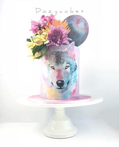 Watercolor Wolf Cake - Cake by Dozycakes
