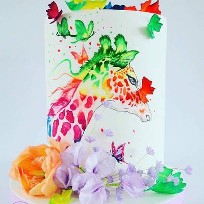 Colour play - Giraffe challenge by Bakerswood - Cake by Katarzyna Rarok