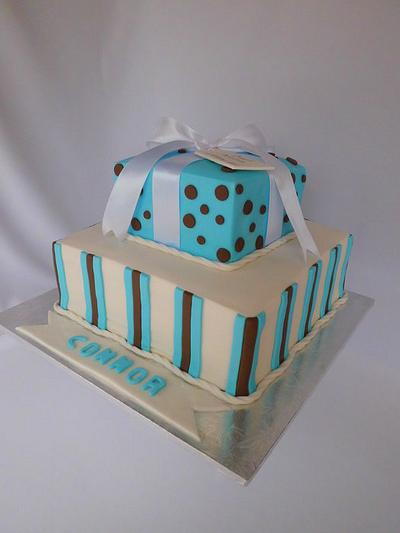 Christening Cake with Stripes and Dots - Cake by Michelle
