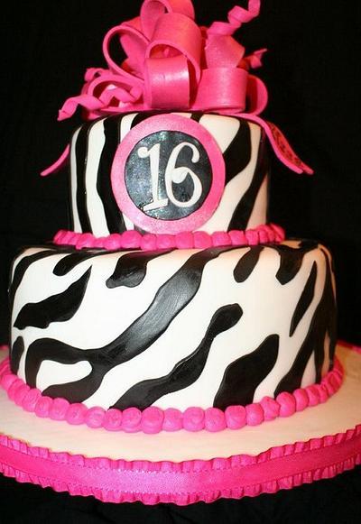 Zebra Stripes with Hot Pink Bow - Cake by CarolsCakeLab