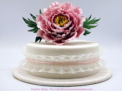 Polly's Peony Stringwork Cake! - Cake by Pauline Soo (Polly) - Pauline Bakes The Cake!